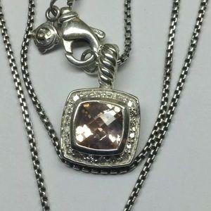 """David Y 7x7mm Morganite Diamond Necklace 18"""""""